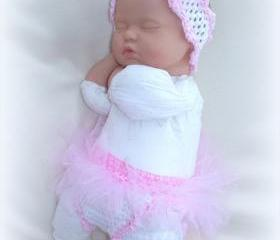 Newborn baby girl, Sweet Heart Tutu diaper cover and headband set
