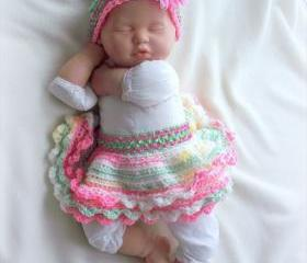 Baby girl Spring Crochet Tutu and Headband Set for 0 to 6 months