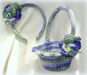 Flower Girl Basket and Headband Set