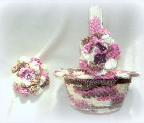 Chocolate Bunny Crochet Easter Basket and Hair Clip
