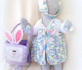 Toddler 9 to 12 Month Sweater Coat, Bonnet and Headband set