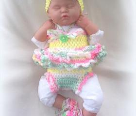 Newborn Baby Girl Little Sunshine Baby Doll Top, Diaper Cover, Headband and Shoes Set