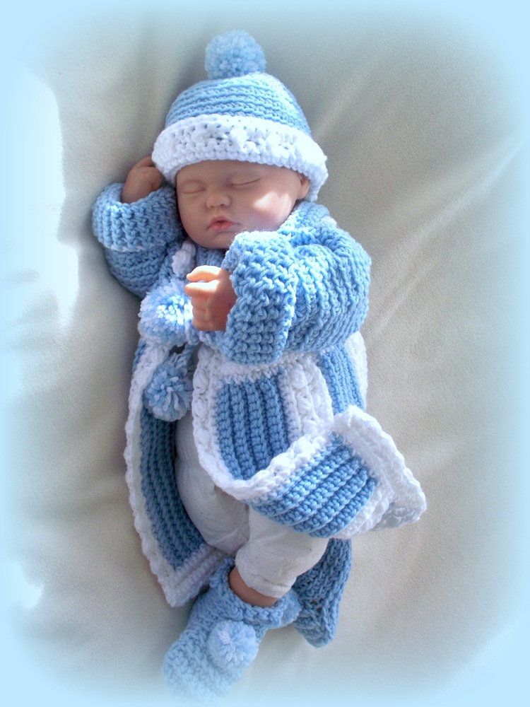 Baby Boy 0 To 6 Months Sweater Coat And Hat And Booties On