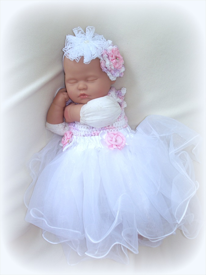 Free Crochet Tulle Dress Pattern : Baby Girl 0 To 6 Months Crochet And Tulle Dress And ...