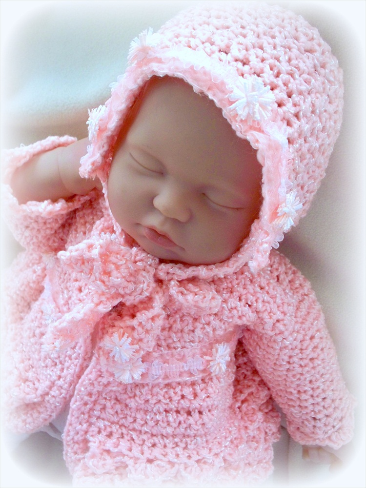 Newborn Sweater/Coat and Bonnet Set 0 to 6 months Peach 
