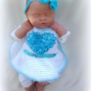 NEWBORN BABY GIRL SWEETHEART ONESIE, CROCHET TUTU AND HEADBAND SET